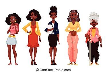 maturità, nero, donne, differente, gioventù, età