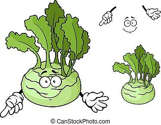 maturo, cavolo rapa, carattere, verdura, sorridente, cartone animato