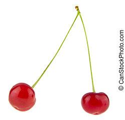 maturo, ciliegia, succoso, isolato, fondo, bianco rosso