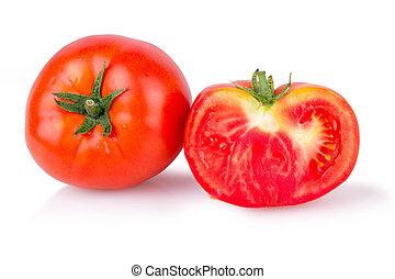 maturo, due, pomodori, succoso