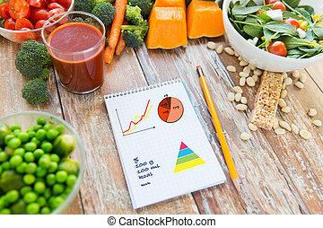 maturo, verdura, su, quaderno, chiudere, tavola