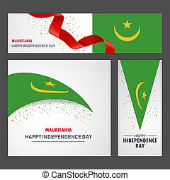 mauritania, set, fondo, bandiera, giorno, indipendenza, felice