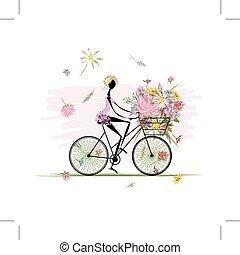 mazzolino, cesto, ragazza, ciclismo, floreale