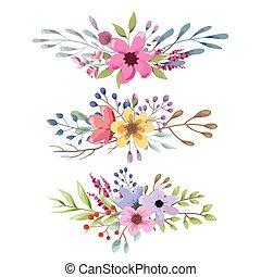 mazzolino, collection., acquarello, floreale, foglie, flowers., romantico, matrimonio