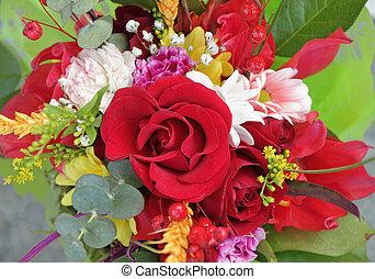 mazzolino, rosa, multicolor, rosso