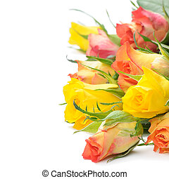mazzolino, rose, variopinto
