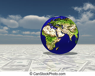 mdeast, dollaro, fuoco, superficie, asia, africa, terra, europa
