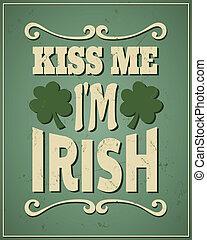 me, irlandese, st., patrick's, bacio, sono, giorno