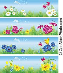 meadow., bandiere, vettore, fiori, illustrazione