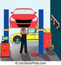meccanico automobile, standing, riparazione