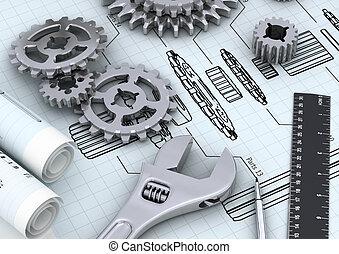 meccanico, concetto, ingegneria