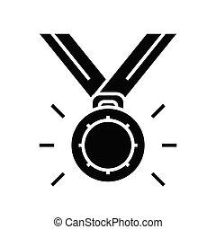 medaglia, illustrazione, glyph, concetto, icona, vettore, segno., appartamento, nero, simbolo