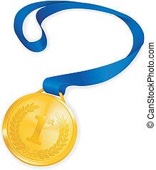 medaglia, vettore, oro
