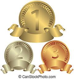 medaglie, argento, bronzo, (vector), oro
