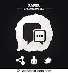 media, azione, icons., discorso, chiacchierata, sociale, bolla