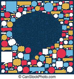 media, bolla, discorso, struttura, sociale