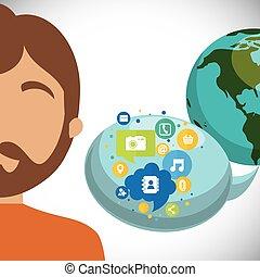 media, comunicazione, discorso, sociale, mondo, bolla, uomo