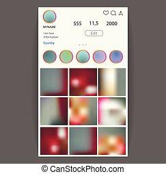 media, concept., sociale, application., vettore, foto, interfaccia, cornice