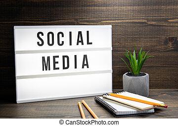 media, concept., sociale, testo, lightbox