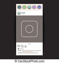 media, concetto, foto, sociale, cornice, vettore, interfaccia, application.