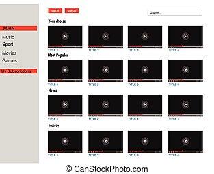 media, giocatore, video, comments., web, vettore, interfaccia, su., finestra, template., beffare, utente, browser, luogo