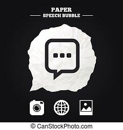 media, globo, icons., discorso, chiacchierata, sociale, bolla