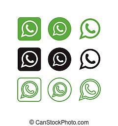 media, icone, sociale, whatsapp