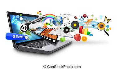 media, multi, internet, laptop, ob
