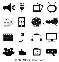 media, multimedia, o, icone