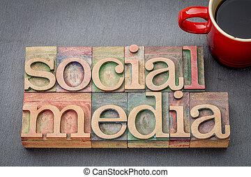 media, parola, sociale, astratto, legno, tipo