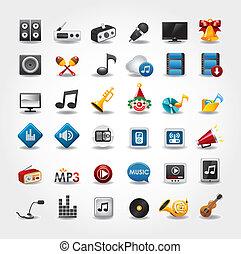 media, raccolta musica, icone