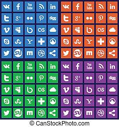 media, sociale, icone