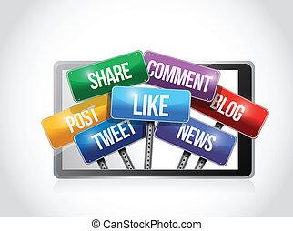media, sociale, illustrazione, tavoletta, segno