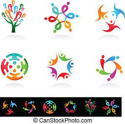 media, sociale, rete, collezione, icone