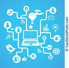 media, sociale, rete, fondo, icone