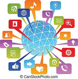 media, sociale, rete, mondo, icone