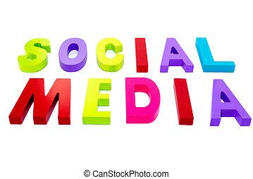 media, sociale, testo