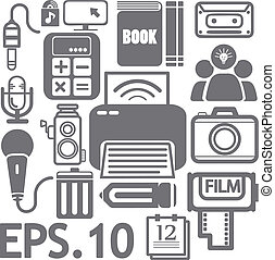 media, web, set, icone