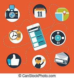 media, web, smartphone, sociale, icone