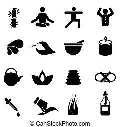 medicina, alternativa, icone