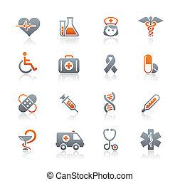 medicina, &, brughiera, cura, icone