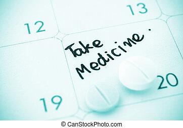 medicina, calendar., promemoria, prendere