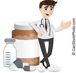 medicina, farmacista, pillole, bottiglia, cartone animato