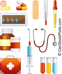 medicina, set, icona