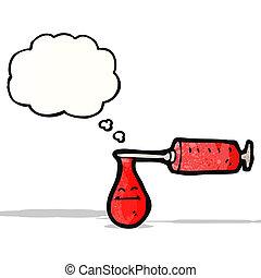 medico, ago, sangue, pieno