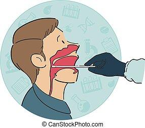 medico, bocca, anatomia, paziente, tampone, croce, maschio, dentro, gola, prova, lavoratore, sezione, protocollo, vista, lato