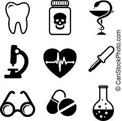 medico, collezione, icone