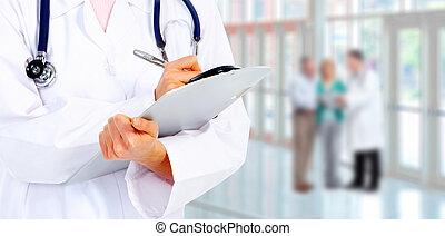 medico, dottore., mani