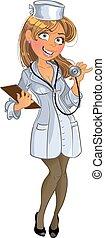 medico, ragazza, phonendoscope