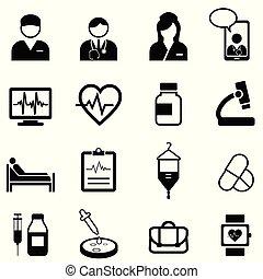 medico, set, salute, icona, sanità